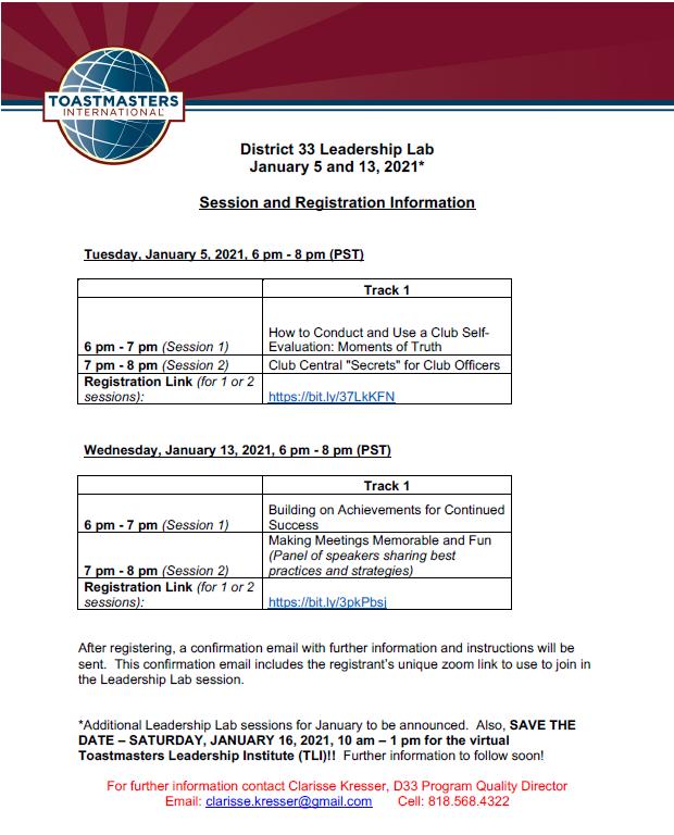 The Leadership Lab: Jan 13, 2021 - District 33 Toastmasters